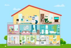 House with furnishings. Eight rooms with furniture. Vector flat illustration. Vector illustration. Painted in shape royalty free illustration