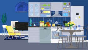 Interior design of the kitchen with dining room and living room with furniture. Vector flat illustration. Vector illustration. Painted in shape royalty free illustration
