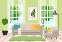 Interior design of the living room with modern furniture. Vector flat illustration. Vector illustration. Painted in shape royalty free illustration