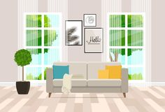 Interior design of the living room with modern furniture. Vector flat illustration. Vector illustration. Painted in shape vector illustration