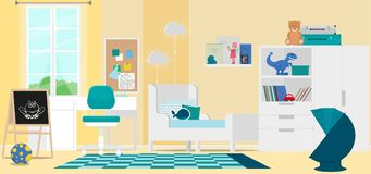 Interior design of a modern children`s room. Vector illustration. Painted in shape vector illustration