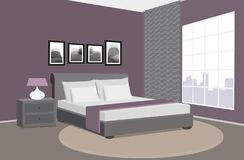 Modern bedroom interior. Room in the hotel. Vector illustration. Vector illustration. Painted in shape royalty free illustration