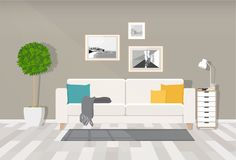 Modern interior design of a living room or office space in an industrial style. Vector illustration. Painted in shape royalty free illustration