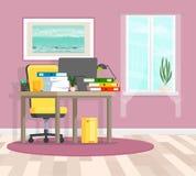 Office interior. Vector illustration. Vector illustration. Painted in shape vector illustration