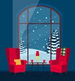 Room with armchairs large window and winter landscape. Vector illustration. Painted in shape vector illustration