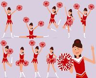 Set of a cheerful cheerleader character. Vector illustration. Painted in shape stock illustration