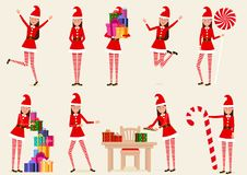 A set of cheerful, Christmas, cartoon girls. Isolated, vector objects. Vector illustration. Painted in shape stock illustration