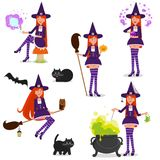 Set of funny witches. Isolated objects on white background. Vector illustration. Painted in shape stock illustration