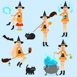 Set of funny witches. Isolated objects on white background. Vector illustration. Painted in shape vector illustration