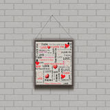 Vector illustration. painting on a brick wall. Valentines Day Royalty Free Stock Images