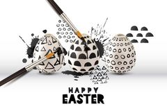 Vector illustration of painting eggs with brush. Art and craft concept. Happy Easter greeting card or poster. Happy Easter greeting card or poster. Painting royalty free illustration