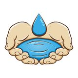 Pair of Hand Holding Water. Vector illustration pair of hand holding water with droplet, isolated over white background vector illustration