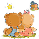 Vector illustration of a pair of teddy bears sitting embracing and looking at the stars, rear view Stock Photography