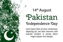 Vector illustration Pakistan National Day, Pakistan flag in trendy grunge style.14 August design template for poster Royalty Free Stock Images