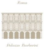Vector illustration of Palazzo Barberini in Rome Stock Images