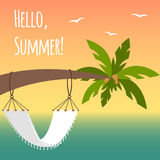 Vector illustration with palm tree, hammock and seagulls Royalty Free Stock Images