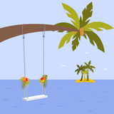 Vector illustration with palm tree, wedding swing and hibiscus flower. Leafs of plant Kentia and Monstera in flat style Stock Photography