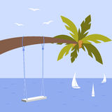 Vector illustration with palm tree, wedding swing and yacht, seagulls Stock Photos