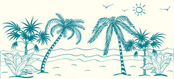 Vector illustration of palm trees on the beach Stock Image