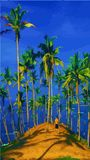 Vector illustration of palm trees and a beautiful beach. stock illustration