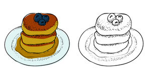 Vector Illustration of Pancakes with Maple Syrup Royalty Free Stock Photo