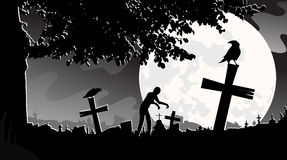 Vector illustration panorama landscape cemetery, night, moon, tombstones, zombies, monochrome, black and white, tree. Vector illustration panorama landscape Stock Images