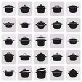 Vector illustration of pans on white background. Black simple pans icon set on white background. Elements for company logos, print products, page and web decor Royalty Free Stock Images
