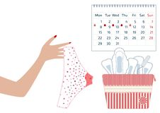 Vector illustration of pants with menstrual blood drops in women monthlies period, tampon and pads. Feminine hygiene in Menstrual vector illustration