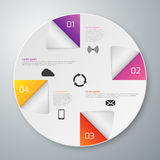 Vector illustration of a paper circle with infographics sectors Stock Image