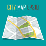 Vector illustration of paper city map on blue background Royalty Free Stock Photography