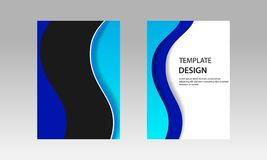 Back and Front document mock up and cover template, wave fluid vibrant blue color layered in paper cut topographic style. royalty free illustration