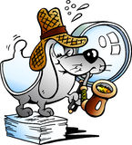 Vector illustration of a Paper Dog Detective Mascot Stock Photo