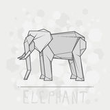 Vector illustration paper origami of elephant. Royalty Free Stock Images