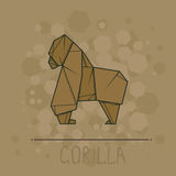 Vector illustration paper origami of gorilla. Stock Images