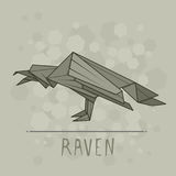 Vector illustration paper origami of raven. Vector simple illustration paper origami of raven Stock Images