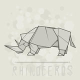 Vector illustration paper origami of rhinoceros. Stock Images