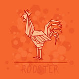 Vector illustration paper origami of rooster. Royalty Free Stock Photo