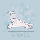 Vector illustration paper origami of walrus. Royalty Free Stock Photo