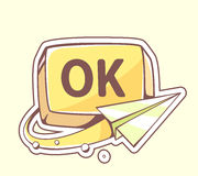 Vector illustration of paper plane flying around yellow button o Stock Photography