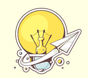 Vector illustration of paper plane flying around yellow Stock Photo