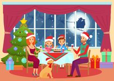 Vector illustration of parents and children kids sitting at table and dining on Christmas eve. Christmas family dinner Stock Images