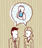 Parents talking about baby / Father, mother, son Stock Image