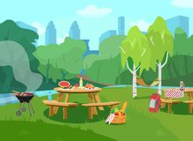 Vector illustration of park scene in city with tables with food and barbeque. Vector illustration of park scene in city  with tables with food and barbeque royalty free illustration