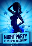 Vector illustration party happy hour ladies night flyer design template with silhouette of dacing women. Vector illustration black party happy hour ladies night stock illustration