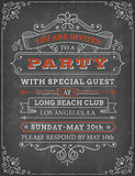 Vector illustration of party invite template. A vector illustration of a chalkboard-style party invitation. The grunge-style vintage template has a black Royalty Free Stock Image