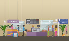 Vector illustration of passengers at airport terminal, flat design Stock Photography