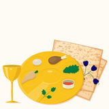 Vector illustration of passover seder plate with matzoh and wine Stock Image