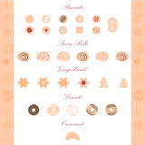 Vector illustration of pastry items Royalty Free Stock Photo