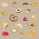 Vector illustration of pastry. Pretzel, muffin, roll, bun, pie, cake and croissant on brown background. Hand drawn pastry on brown background stock illustration