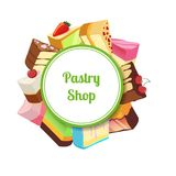 Vector illustration for pastry shop or confectionary with cartoon tasty cake. Pastry cake food dessert, chocolate cupcake with cream Stock Photography